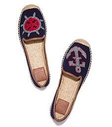 Tony Burch mismatched navy espadrilles