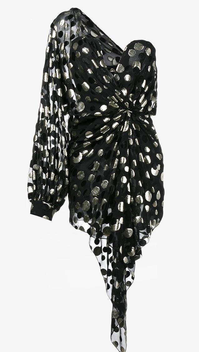 Saint Laurent-Polka Dot-Little Black Dress-LBD
