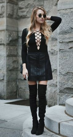 Black Lace up Top