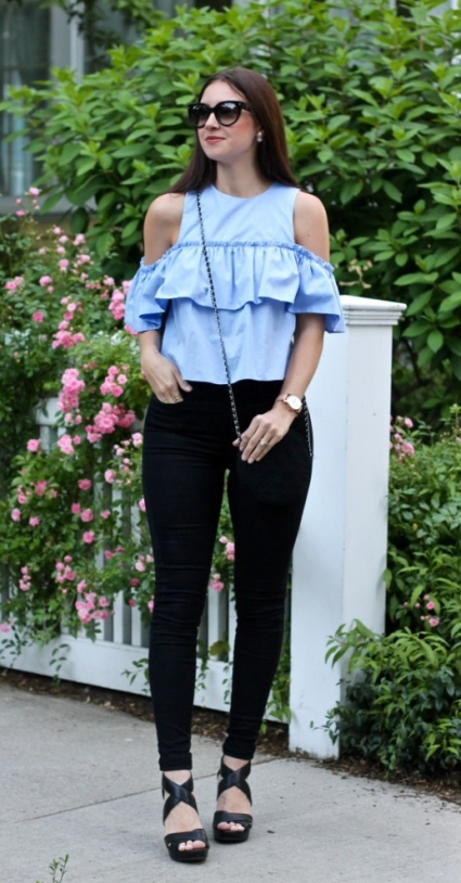Off the shoulder blue top_10