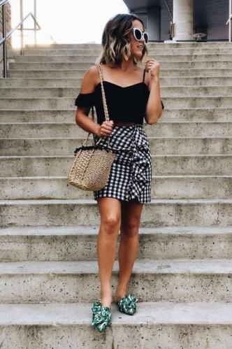 Gingham Ruffled skirt