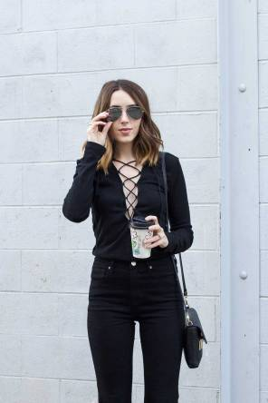 black-lace-up-top-all-black-outfit