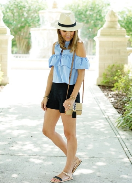 Cold+shoulder+ruffle+poplin+top,+black+shorts,+Panama+hat