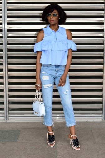 Off the shoulder blue top_8