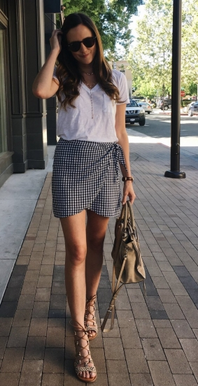 Madewell Gingham side-tie skirt, gingham mini skirt, White tee and skirt outfit, leopard print gladiator sandals, sam edelman jasmyn sandals, summer style, how to wear a white tee, Madewell white pocket tee, Rebecca Minkoff regan satchel