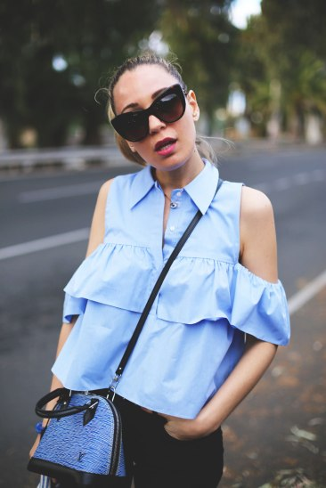 Off the shoulder blue top_3