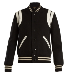 SAINT LAURENT  Leather-trimmed wool-blend bomber jacket- how to wear a bomber jacket