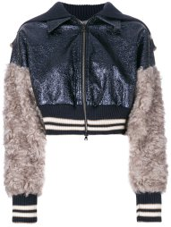 AVIÙ  sequin and fur detailed cropped bomber jacket - How to wear a bomber jacket