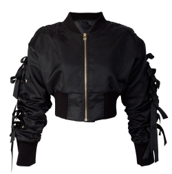 Eviana Bow Sleeve Cropped Bomber Jacket-how to wear a bomber jacket