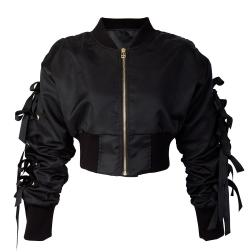 Eviana Bow Sleeve Cropped Bomber Jacket-how to wear a bomber jacket