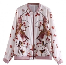 White Birds And Floral Print Bomber Jacket