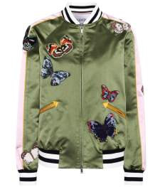 VALENTINO Silk bomber jacket with appliqués-how to wear a bomber jacket