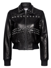 how to wear a bomber jacket-studded-leather-cropped-bomber-jacket-black-red-valentino-600x768
