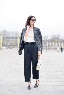 PARIS, FRANCE - MARCH 10: Golestaneh Mayer Uellner poses wearing an Alexander McQueen jacket, Zara top, Stella McCartney pants, Valentino bag and Celine shoes on Day 8 of Paris Fashion Week Womenswear FW15 on March 10, 2015 in Paris, France. (Photo by Vanni Bassetti/Getty Images)